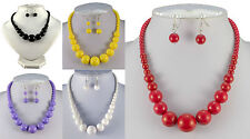 LARGE GRADUATED BEAD NECKLACE & EARRINGS SET RED YELLOW LILAC BLACK  WHITE