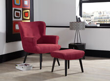 Rhona Accent Chair Fabric High Quality Occasional Buttoned Armchair & Footstool
