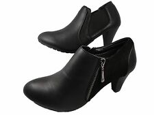 Ladies Leather Look Zip/Stretch Fashion Ankle Boots Black Block Heel Shoes