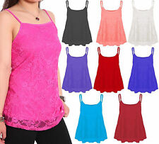 Womens Plus Size Flared Lace Floral Camisole Cami Strappy Swing Vest Top