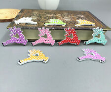 Christmas Caribou wooden buttons sewing Scrapbooking  2 holes wood Crafts 35mm