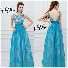 NWT ANGELA  AND ALISON TURQUOISE LACE BALL GOWN WITH BEADED BODICE $678 AUTENTIC