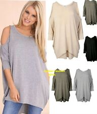 NEW WOMENS OVERSIZED CURVE HEM CUT OUT COLD SHOULDER LOOSE TUNIC BATWING TOP