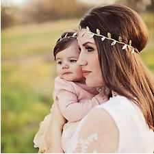 Baby Women Gold/Silver Olive Leaf Headband Hair Garland Photo Photography Props