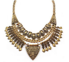 New Vintage Style Carving Flower Drop Tassels Triangle Statement Necklace