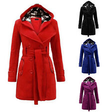New Winter Women Warm Double-breasted Hooded Belt Long Slim Jacket Coat Outwear