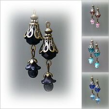 Earrings Lucite flower and crystal drop, choose color and clip on or pierced