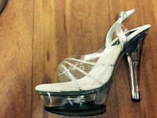 "Pleaser stiletto .6"" heel with 2"" clear platform and diamante strap 12 13 14"