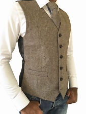 MENS WOOL BLEND BROWN/BEIGE HERRINGBONE TWEED WAISTCOAT VEST - SIZES M - XXL