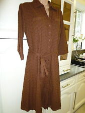 NEXT Great Brown Cotton Broderie Anglaise Dress Size 14 Fully Lined