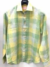 NWT Mens Inserch 100% Linen Casual Quality Shirt Summer Spring Plaid Lime Yellow