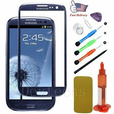 Replacement Front Touch Screen Glass Lens/Tools/ Glue For Samsung Galaxy S3 Blue