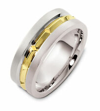 18K Two-Tone, Faceted 8MM Wedding Band sz 4-14
