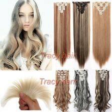 100% Real Natural as human Hair Full Head Clip In Hair Extensions Synthetic h822