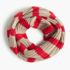 NEW J.CREW RIBBED INFINITY SCARF STRIPE RED OR BLACK WOOL CASHMERE JCREW $69.50