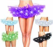 Womens Sexy Evening Party LED Light Mesh Layered Dance Rave Tutu Skirt
