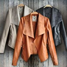 Hot Women Punk Slim Biker Motorcycle Short Jacket Lapel PU Leather Coat Outwear