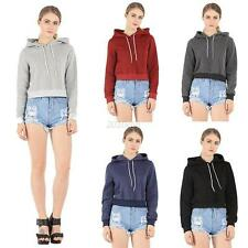 Crop Top Women Hoodie Sweatshirt Casual Jumper Sweater Coat Sports Pullover Tops