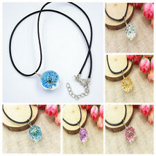 Glass Ball Necklace Crystal Chain Dried Real Flowers Pendant Fashion Jewelry