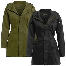 New Ladies Hooded Cotton Twill Parka Jacket Fish Tail Winter Coat 8-24