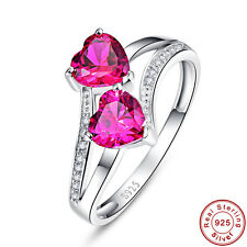 Lover Jewelry Heart Cut Ruby White Topaz 100% 925 Sterling Gemstone Silver Rings