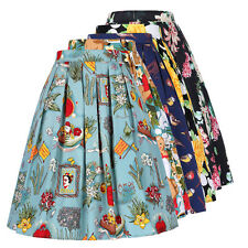 Women's Vintage Retro Pleated Cotton Skirt A-Line Skirt Pinup Swing 5 Patterns