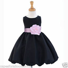 BLACK HOLIDAY PAGEANT WEDDING BRIDESMAID JUNIOR FLOWER GIRL DRESS 12M 2 4 6 8 10