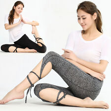 Women Sports Gym Yoga Workout Cropped Leggings Fitness Casual Athletic Pants