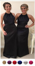 SATIN WEDDING BRIDESMAID EVENING PARTY PROM DRESS HALTERNECK FLOOR LENGTH NEW