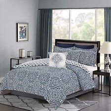 Bedding Comforter 7 Piece Queen or King Bed Set Navy Blue and White Medallion