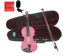 "New Hot Pink Viola & Bow+Case+Extra Strings+Rosin+Tuner 16""15""14""13""12""11""10"""