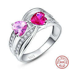 Bride Heart Cut Pink Topaz & Ruby 100% 925 Sterling Gems Silver Rings Sz 6 7 8 9