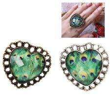 Adjustable Bohemia Style Hollow Out Green Peacock Feather Gem Love Heart Ring