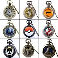 Antique Full Hunter Pocket Watch Necklace Quartz Watch Chain Pendant Gift Retro