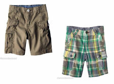 OshKosh Genuine Kids Boys Cargo Shorts 24 Months 2T Beige Khaki Green Plaid NWT