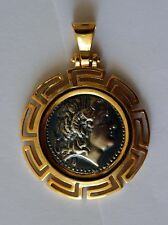 ALEXANDER THE GREAT COIN MEDIUM SIZE & ITALY CHAIN sterling silver 925 code 1153