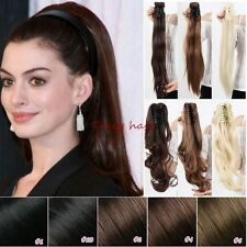Clip In Hair Extension Curly Straight Barbie Claw Wrap Ribbon Ponytail Hair H827