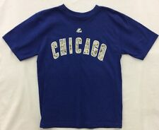 MLB Boys Majestic Chicago Cubs Camo Front Font T-Shirt Blue