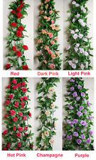 2PCS Artificial Flowers Silk Rose Garland Flower Vine IVY Wedding Home DIY Decor