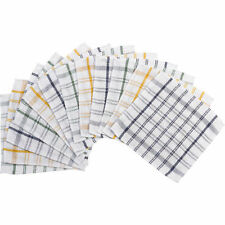 Pack of Heavy Duty Catering Dishcloths Checked 100% Cotton Check Kitchen Cloths