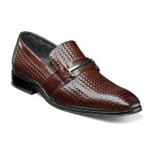 Stacy Adams Mens Fiero Brown shoes slip-on Diamond print leather 25019-200