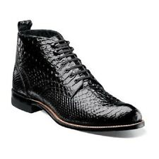 Men Stacy Adams Madison Ankle Boot Lace up Anaconda Embossed Leather 00057 Black