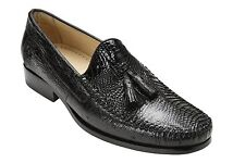 Belvedere Men's Shoes Bari  Caiman /Ostrich  Real Animal Skin Black Slip on R11