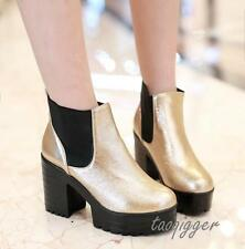 Gothic Womens Chunky Heels Platform Pull On Ankle Boots Creeper Pumps Punk Shoes