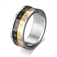 Mens 316L Stainless Steel Roman Numeral Dual Spinner Black&Gold Band Ring Sz6-9