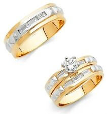 14k Gold Trio Round Baguette Cut Wedding Band Bridal Solitaire Engagement Ring