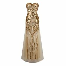 1920s Strapless Dress Deco Great Gatsby Vintage Sequin Cocktail Party Gown 1
