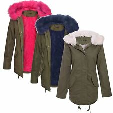 New ladies Fur Sherpa Hooded Parka Coat Fleece Lined Winter Jacket 4-20