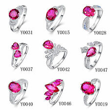 Free Jewelry Box Ruby & White Topaz 100% 925 Sterling Silver Rings Size 6 7 8 9
