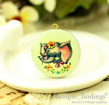 1PCS Vintage  Baby Elephant Locket Necklace,  Photo Locket Pendant HLK136J